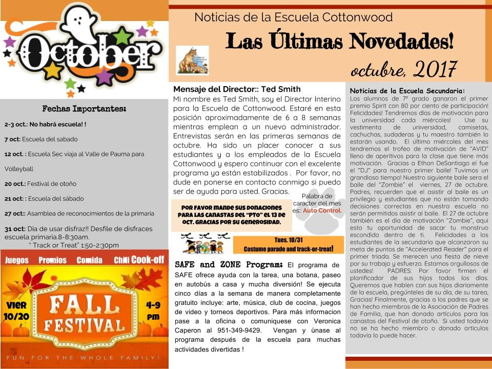 October newsletter in Spanish.
