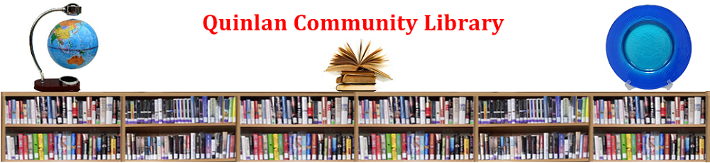 Quinlan Community Library (image of books on a shelf)