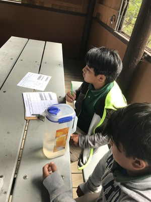 students conducting a run-off experiment, image 2