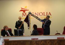 JROTC Distinguished Unit 2015 flag placed by Dr Stephens.jpg
