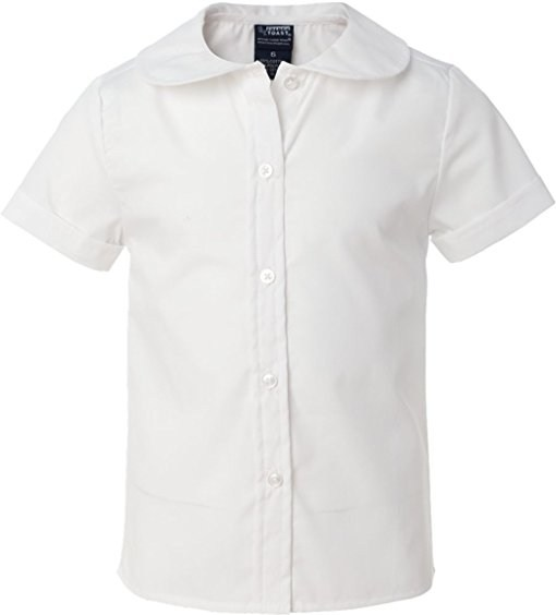 Girls White Short Sleeve Button Down