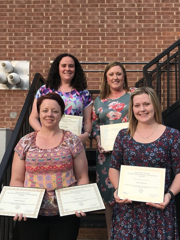 Ms. Haynes, Mrs. Robinson, Ms. Deal, and Ms Bagwell with their certificates of recognition for top 25% growth in NC.