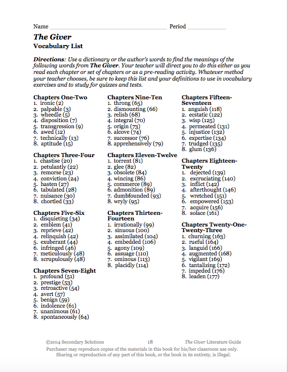 All Worksheets The Giver Worksheets Pdf Free Printable – The Giver Vocabulary Worksheets