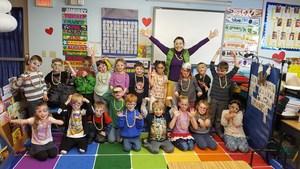Kindergarten 100th day group photo