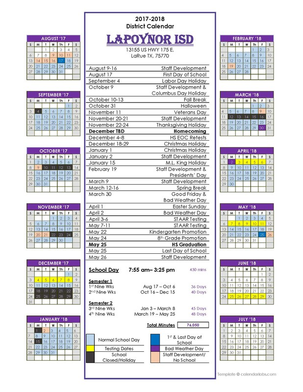 2017/2018 District School Calendar Thumbnail Image