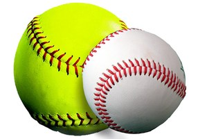 a softball and baseball