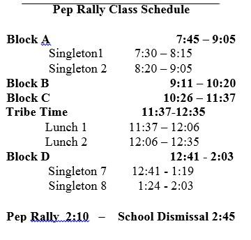 Pep Rally Class Schedule