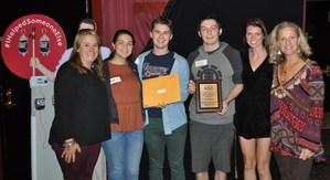 Student accepting RI Blood Center Award