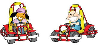 BOY AND GIRL DRIVING A GO CART