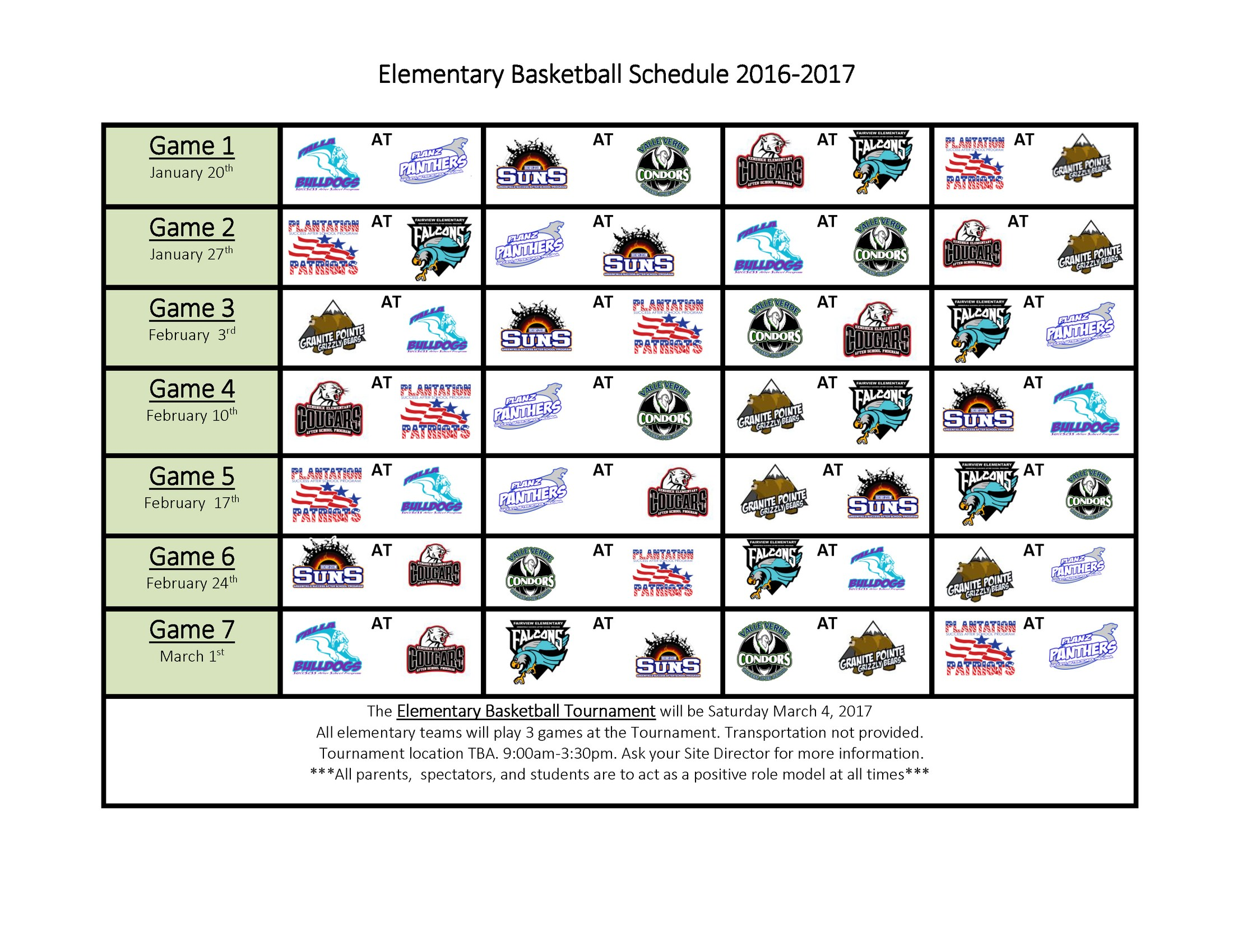 Elementary Basketball Schedule for the 2016 2017 school year.