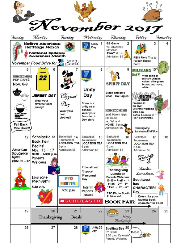 November 2017 Calendar Thumbnail Image