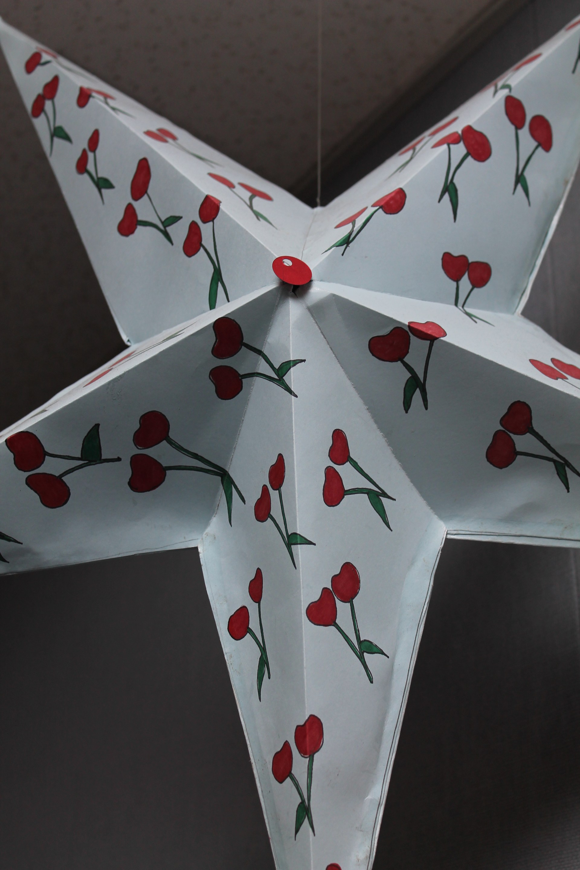 Student Artwork- 3D paper star with a pattern of cherries drawn onto it