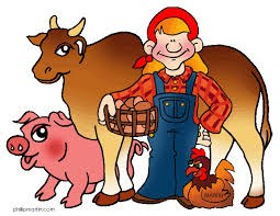 Child in overalls with a pig, cow , sheep and a hen