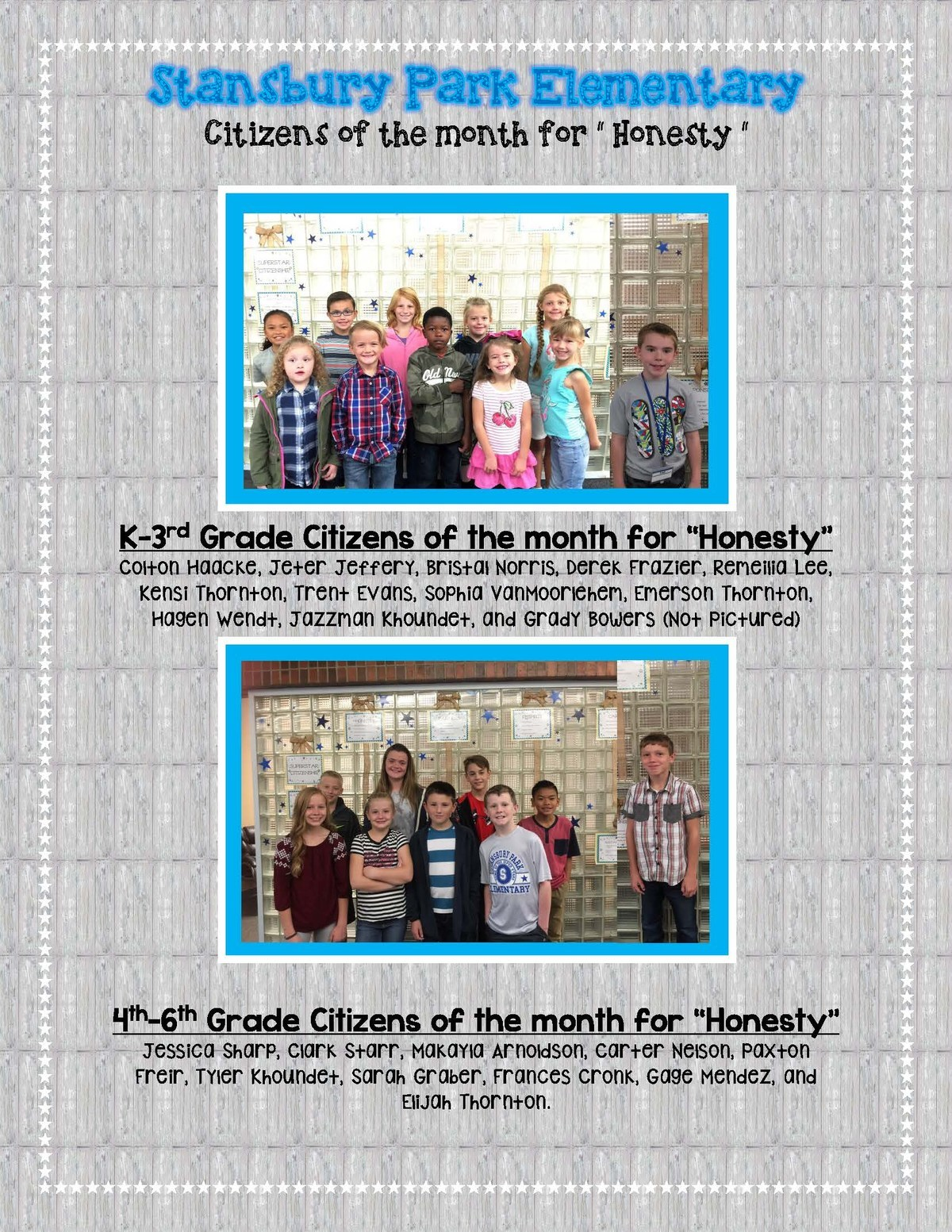 Honesty Citizens of the month