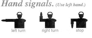 Explanation of hand signals to be used when riding a bike in traffic.
