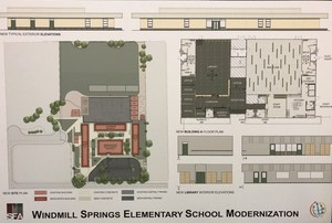plan showing images of new administration building elevations