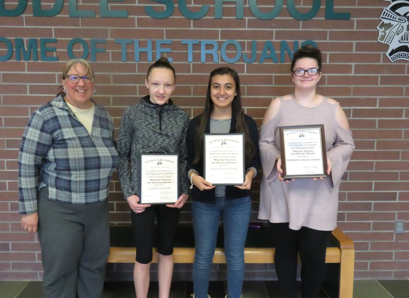 Three middle school students have their essays advance to the state competition.