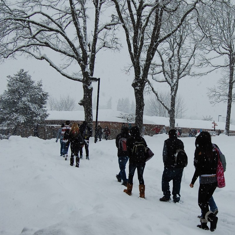 Students walking through snow