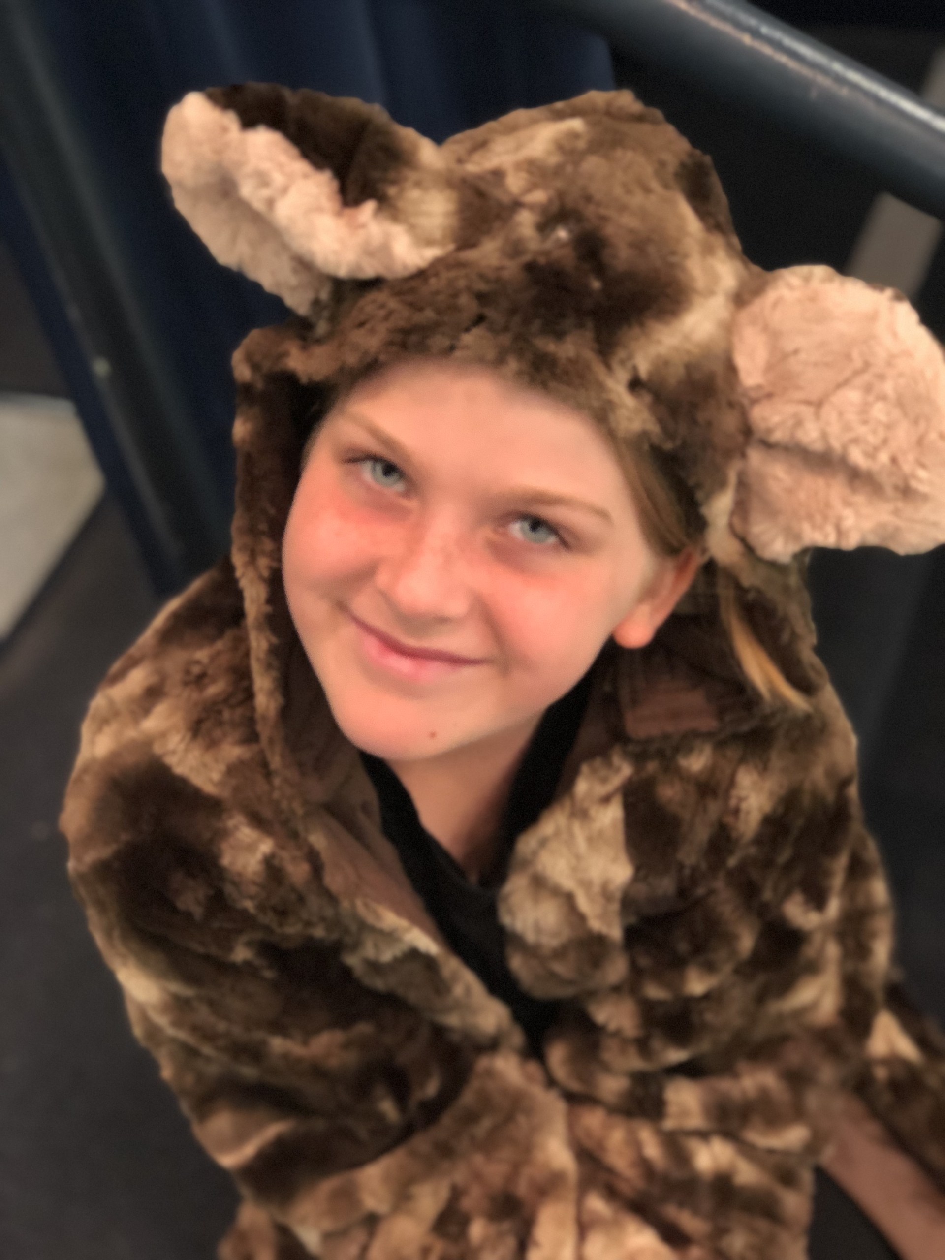Girl in bear costume for Jungle Book.