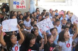"Brightwood Elementary students chant ""Yes naps! No naps!"" in their convention and mock election held on November 6."