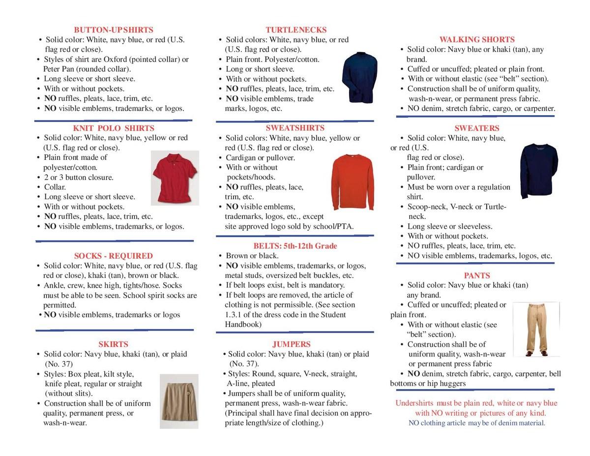 2017-18 Dress code brochure page 1