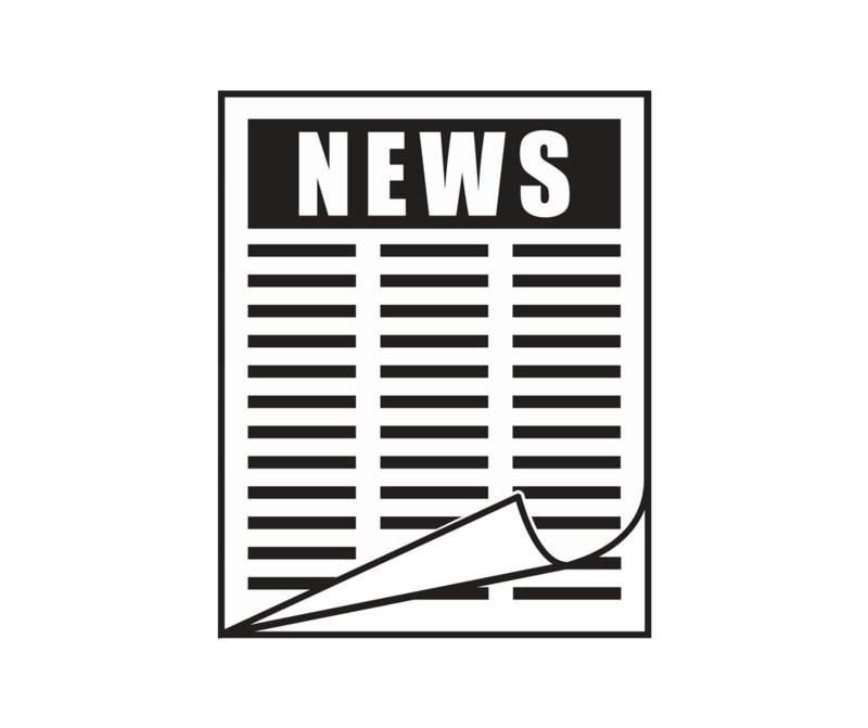 clipart of black and white newspaper with text News at top