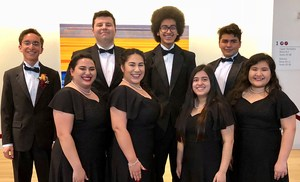 Group picture of the 8 students who made a regional choir