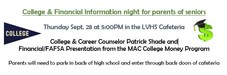 College and Financial Information Night Flyer