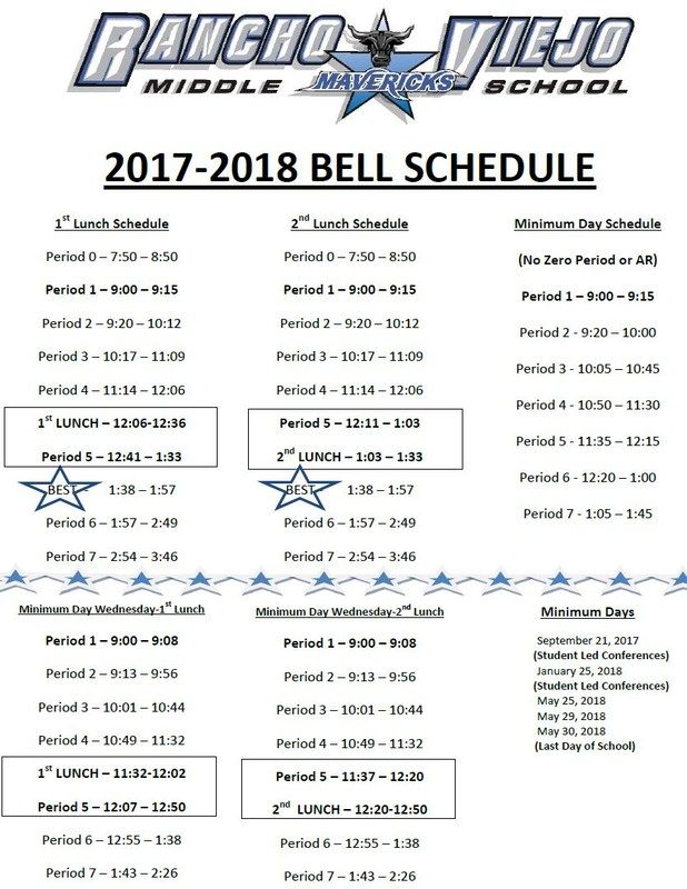 2017 to 2018 Bell Schedule