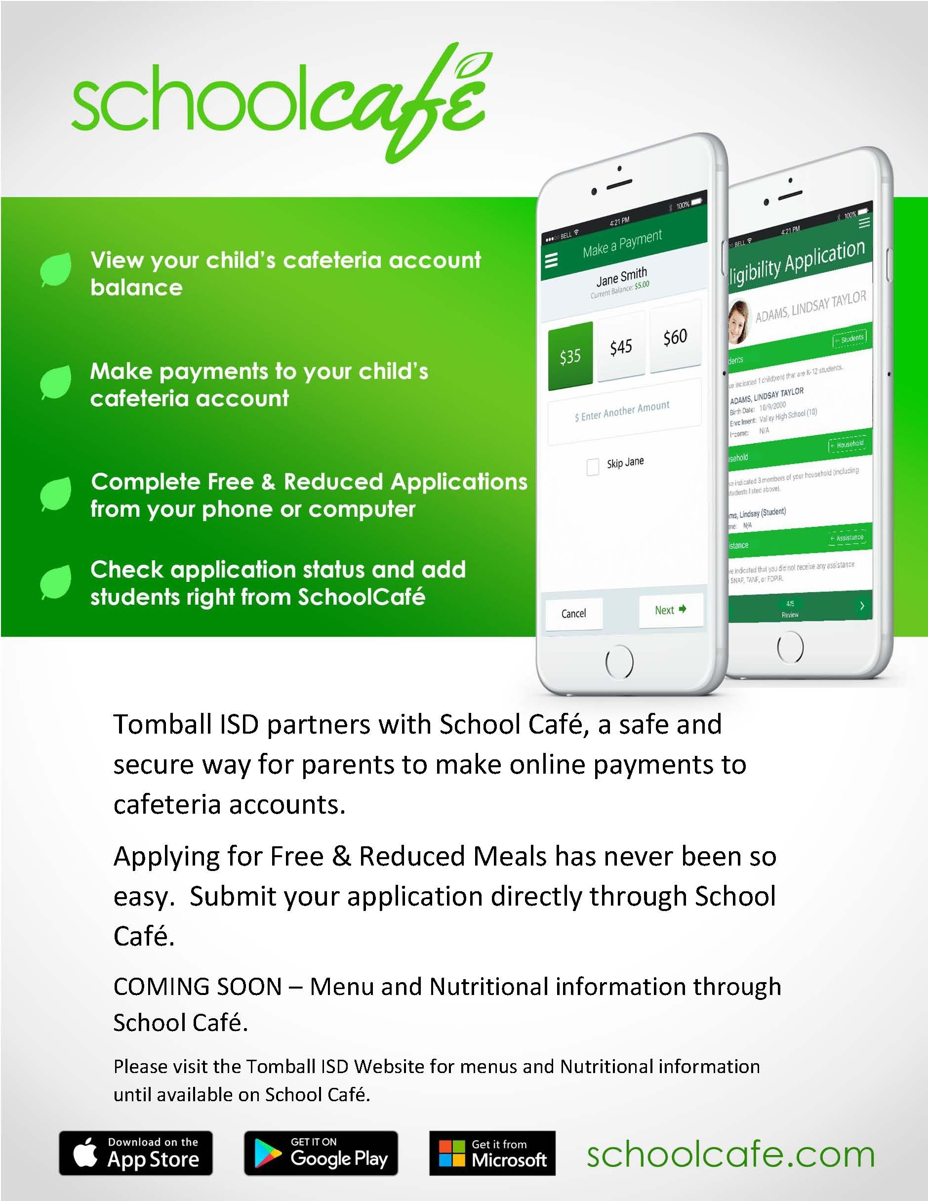 Photo of SchoolCafe mobile device app.