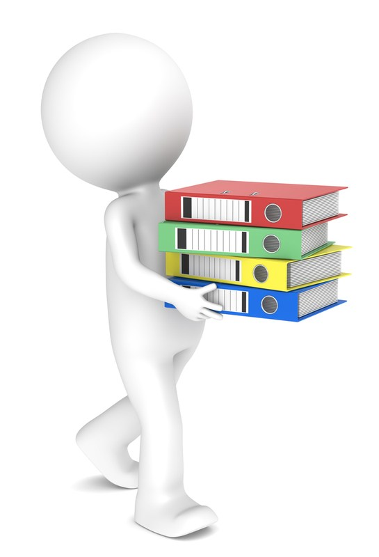 Graphic: a human figure carries stack of curriculum books.