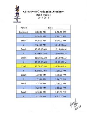 2017-2018 Bell Schedule