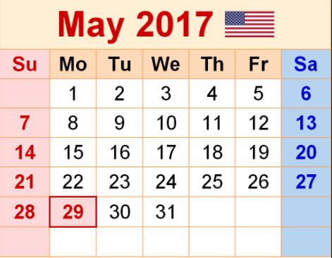 May Calender 2017 Thumbnail Image