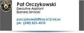 Pat Orczykowski, executive secretary.  Phone  248-823-4010.