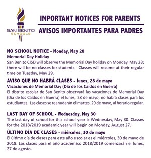 Important notices for parents