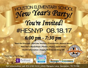 Houston Elementary Back to School Event Flyer