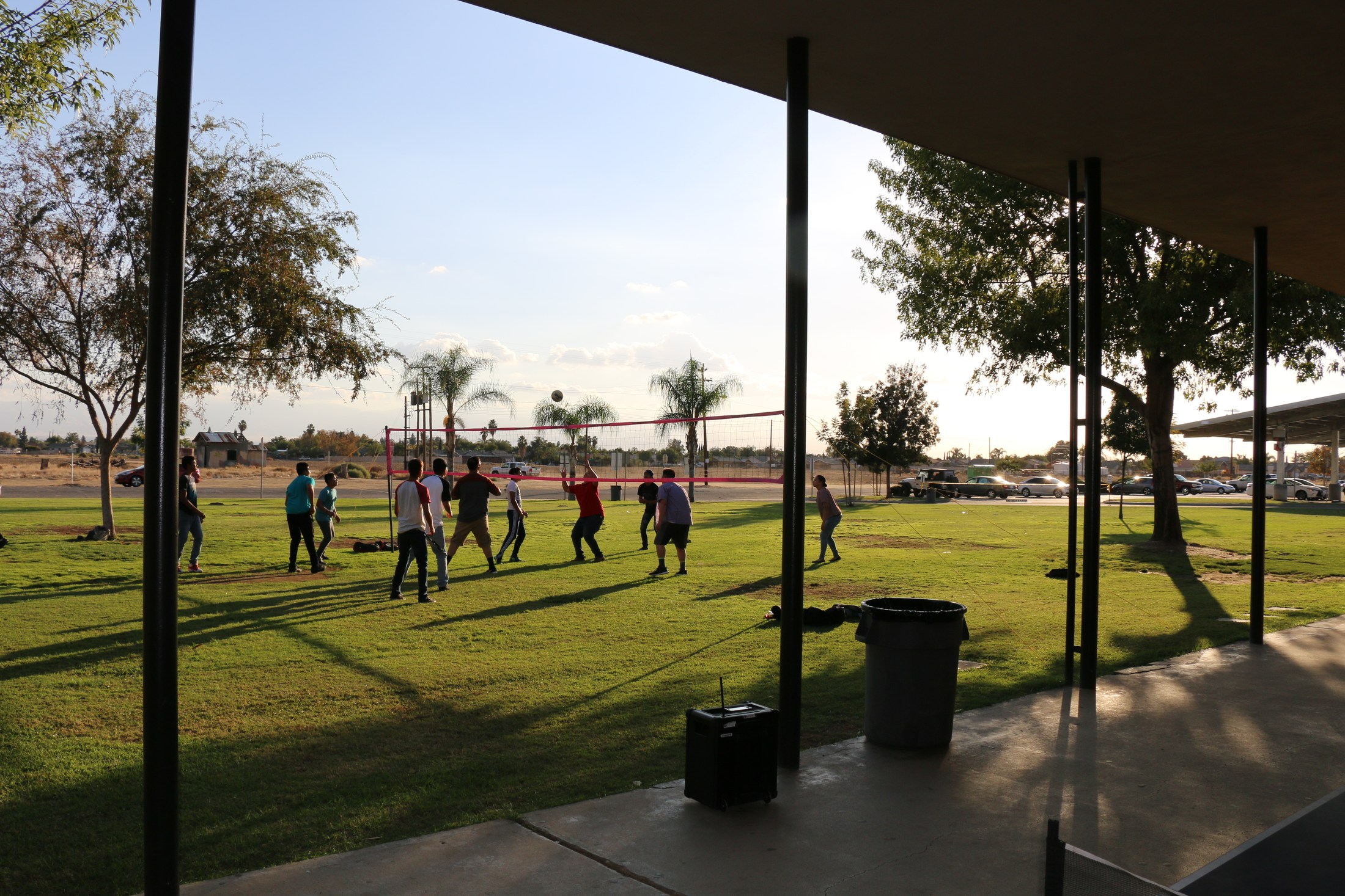 Arvin High ASSETs (After School Program) students playing volleyball in their intramural class.