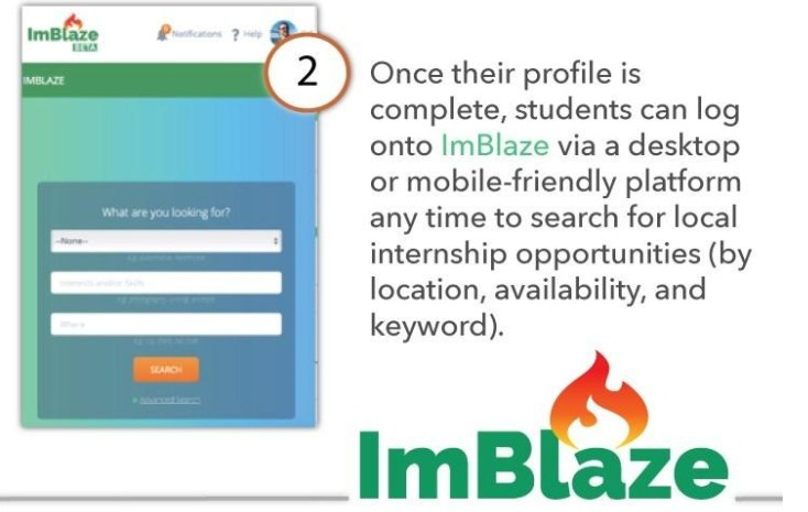 Once their profile is complete, students can log into ImBlaze via a desktop or mobile-friendly platform any time to search for local internship opportunities (by location, availability, and keyword).
