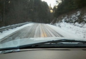 Snow-covered road in Wilkes County