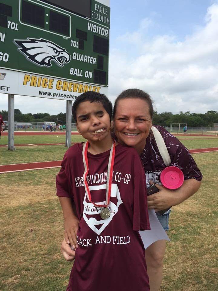 Special Olympics athlete and parent