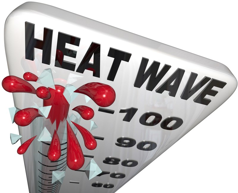 Heat Wave graphic of bursting thermometer over 100 degrees F