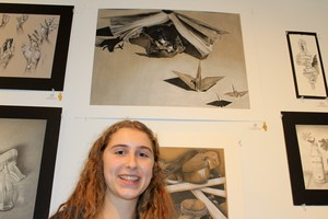 Allison Brist and her gold key art piece