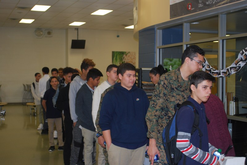 Newly arrived students lining up for their first thanksgiving