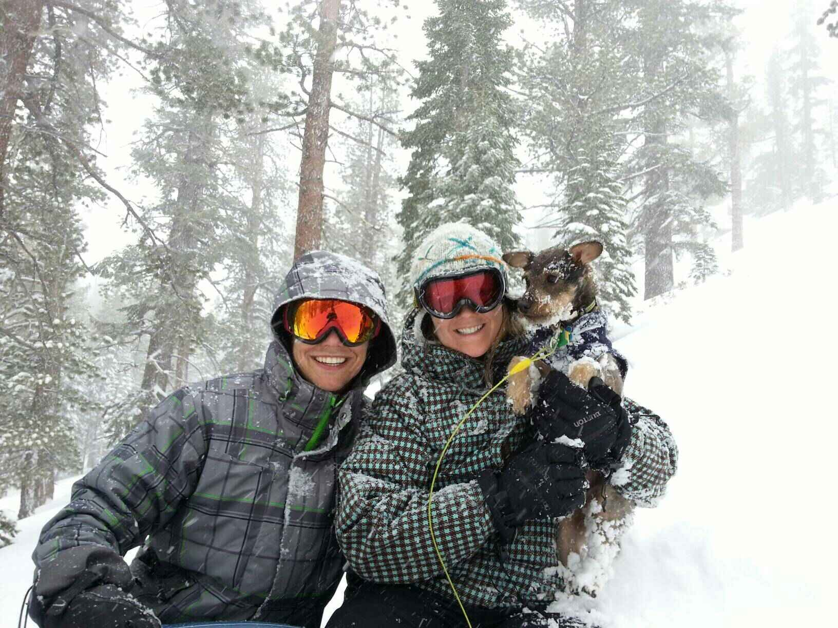 Mrs. Summers, Mr. Summers and Walter in the snow