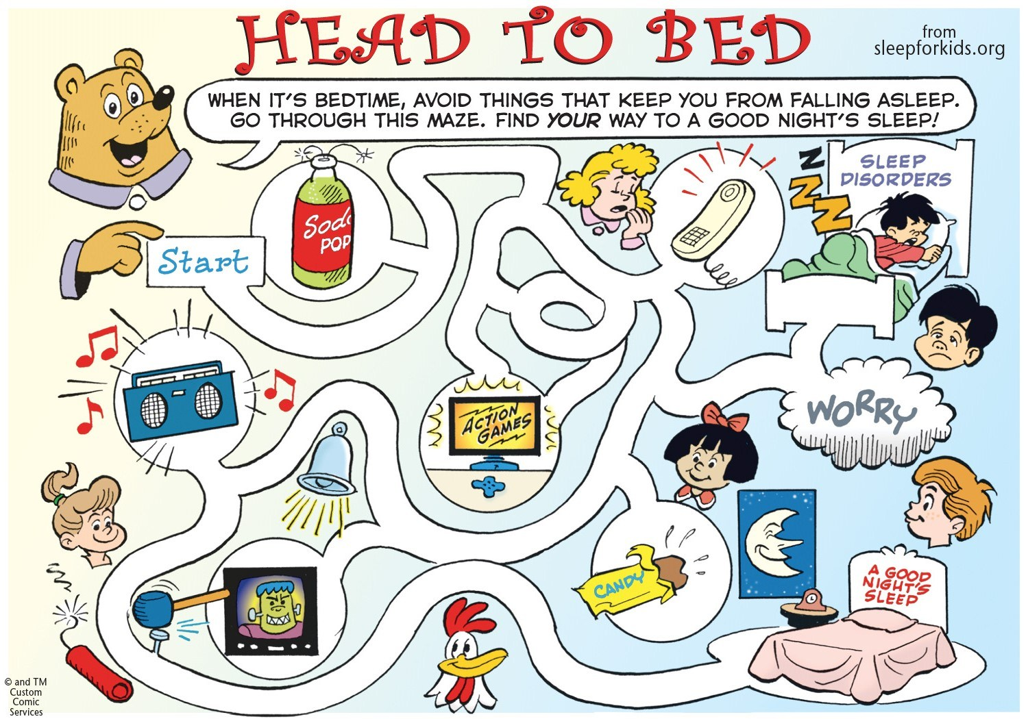 A printable maze to help kids navigate their way towards a good night's sleep.