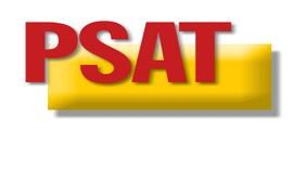 Red lettering featuring PSAT with a yellow background.