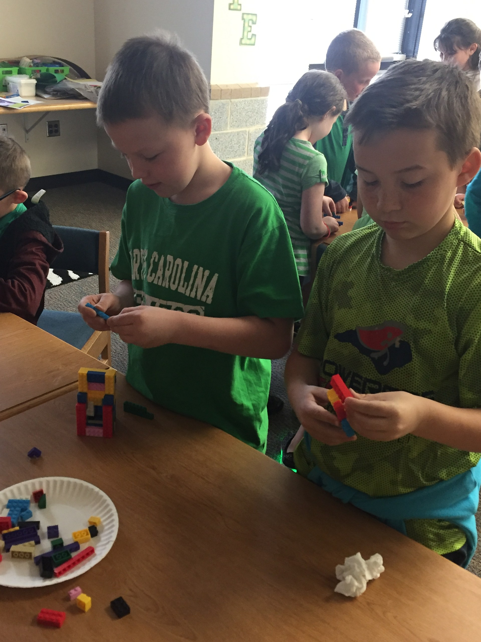 Students play with Legos