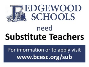 Advertisement bulletin for substitute teachers wanted at Edgewood Schools. Contact www.bcesc.org/sub for more info