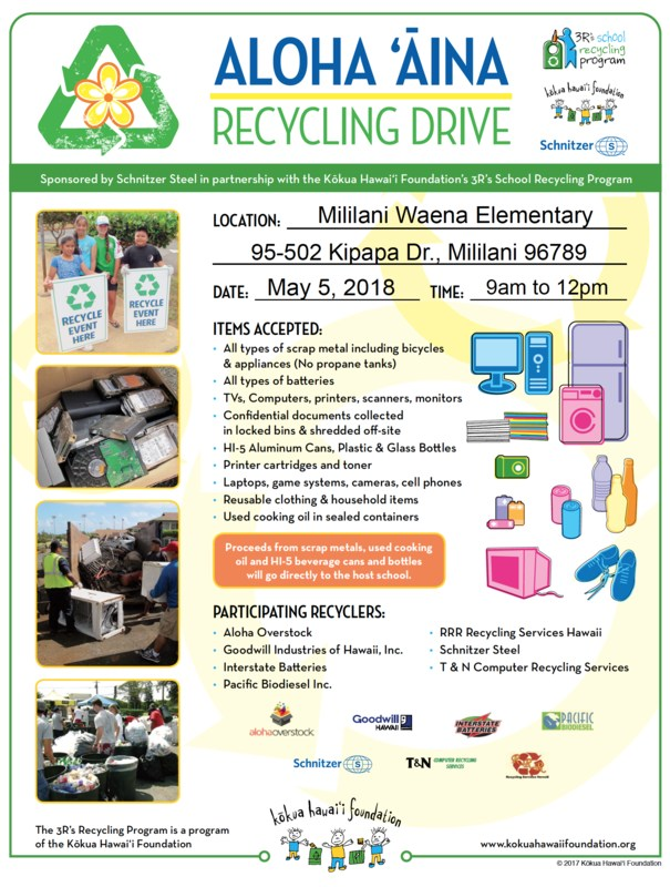 Aloha 'Aina Recycling Drive May 5 Thumbnail Image