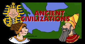 People in costume and a sign that says Ancient Civilizations